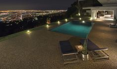 Oh how I love this combination: swimming pool, night and city lights