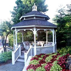 My backyard dream includes a gorgeous gazebo like this, for us to have cozy lunches, evening chats, and a little quiet time in.  Maybe even catch a nap?