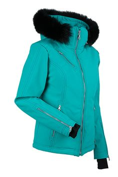 Women's ski and snowboard jacket.  Look effortlessly chick in this hip length, fitted jacket with a real fox fur lined hood and exposed zippers for added edge. The Carolyn is four way stretch with three layer fabric and is internally loaded with all the amenities you need to simplify your ride. Choose a color and let it be the perfect finishing touch to your snow bunny ensemble. WATERPROOF- 20,000mm. BREATHABLE- 20,000g.