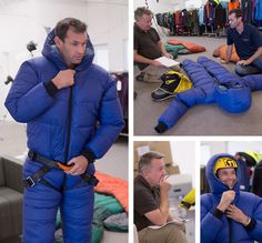 Making of the Ultimate Onesie. Chris Warner in first sample of Mont High Altitude Down Suit