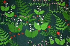 RETRO gardin Almedahls tyg nyckelpiga, skogen 70-tal på Tradera. Tyger | Scandinavian Fabric, Scandinavian Pattern, Retro Fabric, Vintage Fabrics, Home Textile, Textile Design, Textiles, Floral Motif, Fabric Patterns