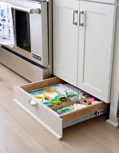 space between your cabinets and floor? Well toe-kick draw is the storage solution for you. This new found storage spot is perfect for storing kids' craft supplies, serving dishes or baking trays