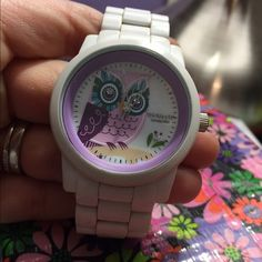 Owl Sprout Watch White Diamond Owl Corn Resin Bracelet Watch.  Band and case are made from Eco-friendly corn resin, two genuine diamonds, and mother of pearl bezel. Sprout Watches  Accessories Watches