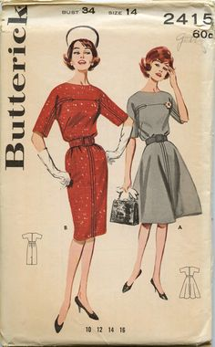 1960s Dress Pattern Butterick 2415 Misses Welt Seamed Dress with Straight or Flared Skirt Bust 34. $10.00, via Etsy.