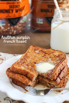 Crazy amazing Pumpkin French Toast made healthier by using egg whites and 100% whole wheat bread. Sub GF bread
