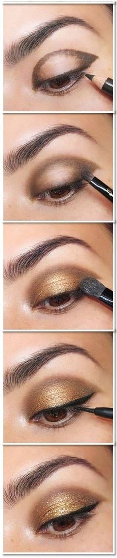 Gold Smoky Eye MakGold Smoky Eye Makeup Tutorial - Head over to Pampadour.com for product suggestions! Pampadour.com is a community of beauty bloggers, professionals, brands and beauty enthusiasts! Think I'd like a dk brown for liner...it would all have blended better...the eyeliner stands out a little bit too much here! by bbooky