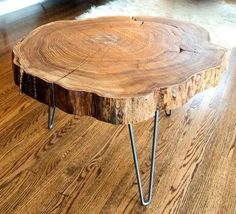 Natural Live-Edge Round Slab Side Table/Coffee Table by Norsk Valley Workshop - eclectic - coffee tables - Etsy Log Coffee Table, Log Table, Tree Trunk Table, Wood Logs, Wood Slab, Wood Tree, Walnut Slab, Metal Tree, Log Furniture