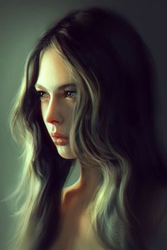 """Girl Portrait"" - Liangxing {figurative art beautiful female head woman face portrait digital painting} liangxinxin.deviantart.com"