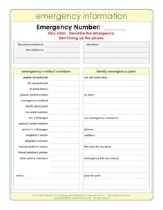 in case of emergency form template