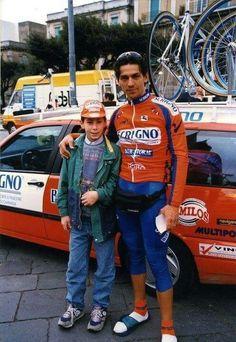 El jovencito Nibali con B. Conte