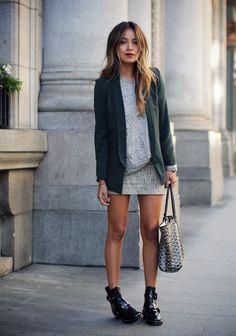 Missguided blazer / Madewell tee-shirt / Loft skirt / Balenciaga boots on Sincerely Jules