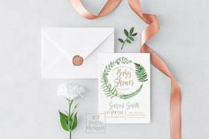Greenery baby shower invitation woods printable baby shower invitation design forest invitation design woodland fern green nature watercolor