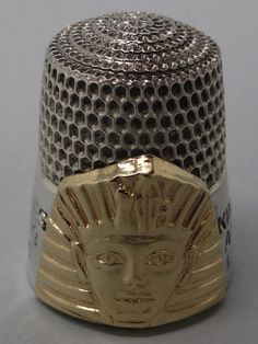 King Tutankhamun Treasures - American Exposition 1976-79. Simmons Bros. Silver & Gold. England. 1979.  Limited Edition of 5000. Thimble-Dedal-Fingerhut.