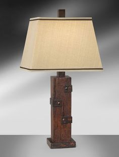 Reclaimed Wood and Iron Resin Table Lamp 829STCH