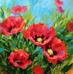 Hydrangea Painting - Poppy Tango by Nancy Medina