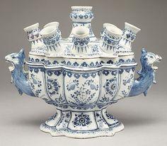 "Dutch (Delft) flower vase - The ""Greek A"" Factory, ca. 1700–1710 - Tin-enameled earthenware (delftware)"