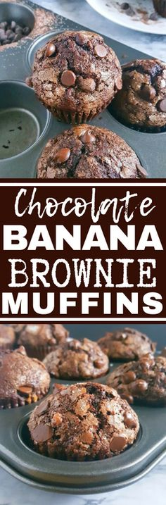 Turn overripe bananas into these Bakery Style Double Chocolate Chip Banana Muffins that taste like Brownies! This is a one bowl recipe that's super easy to make and so delicious. #dairyfree #vegetarian #breakfast #chocolate #banana #muffins #easyrecipes