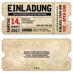 Einladung als Eintrittskarte VIP im Vintage Design