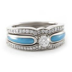 Stunning Turquoise and White Gold Engagement Ring with Two Diamond Bands #bridaltransformed