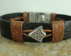 Men's Leather Bracelet. Men Black Leather Bracelet. by DenizKumu