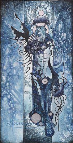 Fantasy Art Nouveau Painting - Winter Noctearis (16 x 20)