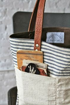 Forestbound 1950s era Ticking Fabric Tote Bag
