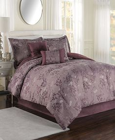 Evening Shade 7 Piece Jacquard Comforter Sets - Bed in a Bag - Bed & Bath - Macy's This is what i ended up purchasing for the Master Bedroom, Dream Master Bedroom, Bedding Master Bedroom, Bedroom Decor, Bedroom Ideas, Bedroom Stuff, Cool Comforters, Purple Bedding, California King Bedding, Buy Bed