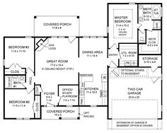 Ranch House Plan chp-24020 at COOLhouseplans.com Garage into kitchen.  Storage rm into closet.  Shown closet into odorless shower