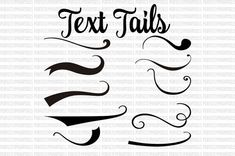 Text Tails Text Swoosh svg eps pdf instant by PerfectlyPoshPixels