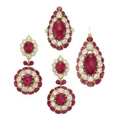 Gold, Cabochon Ruby, Diamond and Ruby Ring, Van Cleef & Arpels, and Pair of Pendant-Earrings and Pendant