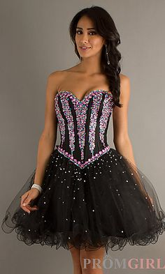 Short Strapless Prom Dress by Mori Lee 9218 at PromGirl.com