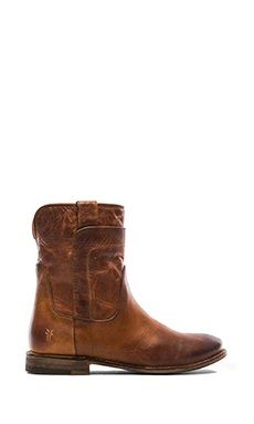 With cutoffs. | Frye Paige Short Boot in Cognac