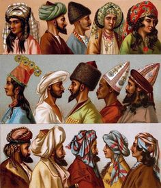 Ottoman Empire Period Fashion throughout the years. The hats are killing it! I love it how the styles changed over time. Historical Costume, Historical Clothing, East Clothing, Arabian Nights Costume, Empire Ottoman, Ottoman Turks, Especie Animal, Turkish Art, Hanfu