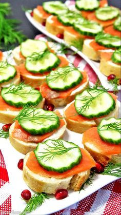 This Smoked Salmon Canapés recipe is very easy and quick to put together and make people very happy! I use my Homemade French Bread recipe for a more homestyle taste, with cream cheese, pressed garlic and a little salt for cream topping and it turns out little canapes so scrumptious that you will run out of supplies almost immediately. #appetizerrecipes #partyfood #valyastasteofhome | www.valyastasteofhome.com Chef Recipes, Seafood Recipes, Cooking Recipes, Canapes Recipes, Appetizer Recipes, Smoked Salmon Canapes, Tapas, Bite Size Food, Good Food