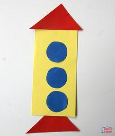 """Des véhicules en papier - puzzle """"tangram"""" - Cabane à idées Puzzles, Triangles, Origami, Tech Logos, Preschool Crafts, Planes, Transportation, House, Decor"""