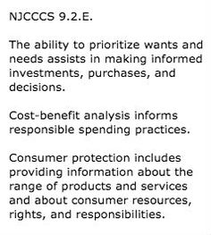 New Jersey World Class Standards Content area: 21st Century Life and Careers Personal Financial Literacy: 9.2.E for grade 12  Text from: http://www.nj.gov/education/cccs/standards/9/9-2.htm