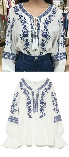 A White Hippie Style Embroidery Top is available at $45 from Pasaboho. ❤️ These tops exhibit brilliant design with beautiful embroidered patterns. ❤️ Wholesale and retail all welcome. Fashion trend and styles from hippie chic, modern vintage, gypsy style, boho chic, hmong ethnic, street style, geometric and floral outfits. Trending boho style and embroidery stitches. Free Spirit hippie girls sharing woman outfit ideas. bohemian clothes, cute dresses and skirts.