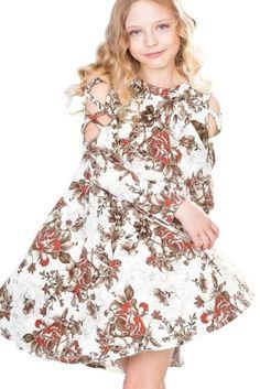 Girls White Floral Crisscross Shoulder Day Dress