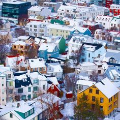 Winter, Reykjavik, Iceland...I want to go here and walk the streets...I want this as a print for my wall