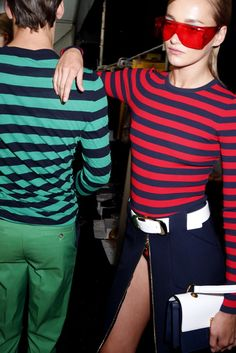 Backstage at Michael Kors Spring 2013... Glad to know my fall rugby stripe long sleeve tee in navy and red will be in style this spring.