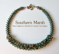 Southern Marsh Fully Beaded Kumihimo Necklace, 20 Inch Necklace, Boro Teardrop…