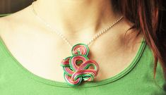 Abstract wire wrapped pendant, Asymetrical necklace, Steampunk jewelry, Space necklace, Funky spring jewelry, Green pink jewelry