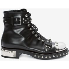 Alexander McQueen Hobnail Ankle Boot ($1,620) ❤ liked on Polyvore featuring shoes, boots, ankle booties, black, black studded boots, strappy ankle boots, strappy booties, studded booties and lace ankle boots