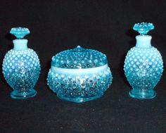 Fenton Vanity perfume set Blue Opalescent hobnail 3805 FREE SHIP  $90.00 OBO