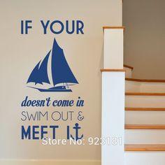 Горячая если ваш Swin корабль якорь море стены искусства наклейки наклейки главная DIY украшения настенная съемный спальня декор наклейки 110 x 57 см