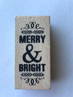 New- for Scrapbooking Rubber Stamping and Handmade cards  Wood Mounted Rubber Stamp-- Merry and Bright by YourScrapbookingShop on Etsy