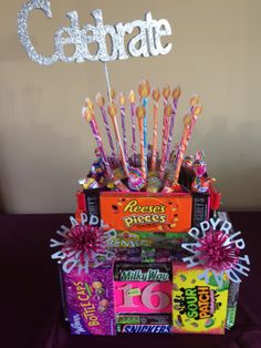 Candy Bar Cake for Allie's Sweet 16 Birthday! 16th Birthday Gifts, Birthday Candy, Birthday Gifts For Best Friend, Sweet 16 Birthday, Birthday Ideas, Teen Birthday, Birthday Crafts, Birthday Celebration, Happy Birthday