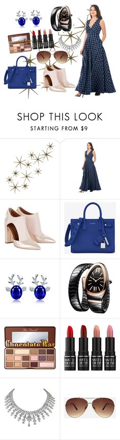 """""""Untitled #306"""" by bosniamode ❤ liked on Polyvore featuring Global Views, Yves Saint Laurent, Bulgari, Too Faced Cosmetics, MAKE UP FOR EVER and Ashley Stewart"""