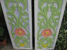Set of Two Painted Panels that are Totally Wonderful, for a Headboard, or Wall Hangings.