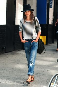 Boyfriend jeans & stripes and... a hat.